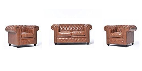 Original Chesterfield Sofa und Sessel – 1 / 1 / 2 Sitzer – Vollständig Handgewaschenes Leder – Vintage Mokka