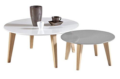 Demeyere 299015 Round Set de 2 Tables Basse Bois MDF/Pin Massif Blanc 78 x 78 x 35 cm