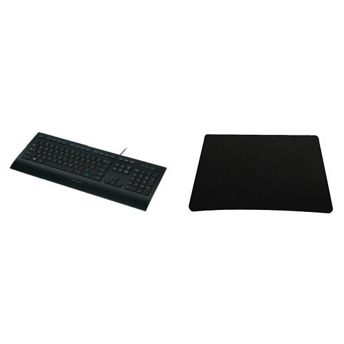 Preisvergleich Produktbild Set LOGITECH K280e corded Keyboard USB black for Business, QWERTZ,  deutsches Layout + Silent Monsters 1003007016 Mauspad (22 x 18 cm) schwarz
