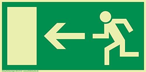 Schild Notausgang Pfeil links langnachleuchtend 297x148mm PVC selbstklebend gemäß BGV 8A (Fluchtwegschild Notausgang Rettungszeichen Rettungsweg Rettungsschild)