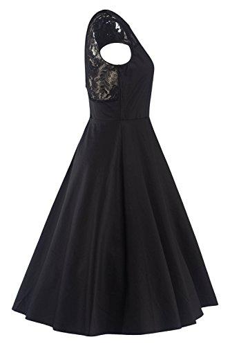 MisShow 2017 Damen Vintage Abendkleid Faltenkleid Transparenter Spitzen Hinten Frei V-Ausschnitt Ärmellos Knielang Retro Schwarz Gr.2XL - 3