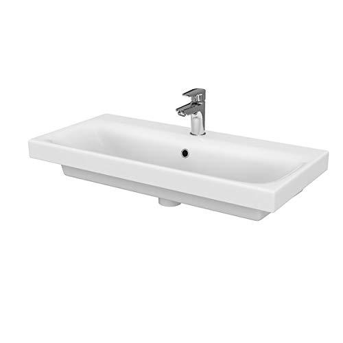 VBChome Kollektion Moduo slim 80cm x 38cm Waschtisch für Unterschrank Einbau Waschbecken mit Überlauf Weiß Keramik Waschtisch Handwaschbecken Einbau -Waschschale FÜR BADEZIMMER