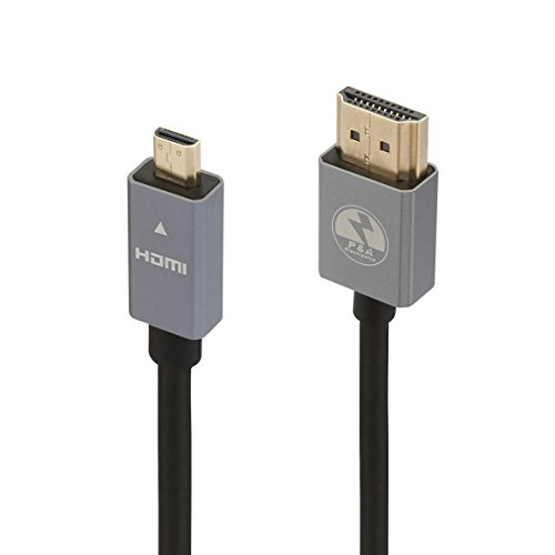 Audio-micro-steckverbinder (P&A Micro HDMI Kabel Schwarz 1 M (Meter ) - High-Speed v2.0 / 1.4a /Full HD / HD Ready / 3D TV / 1080p / 2160p / 4K Ultra HD Ethernet Audio Return - Micro HDMI Stecker (Typ D) zu HDMI Stecker (Typ A))