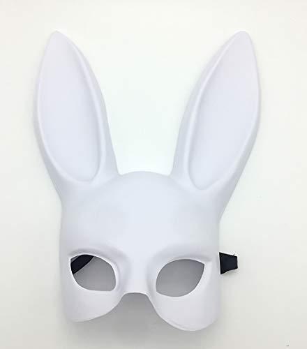Party Frauen Bunny Kostüm Black - MX kingdom Kaninchen Eyemask mit Ohren Bunny Maske Frauen Black Masquerade Maske Halloween Party Kostüm Cosplay Dressing up Requisiten Ball Ostern Karneval - Matte weiß