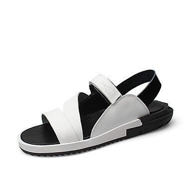 Uomini sandali estivi Casual in pelle tacco piatto altri Bianco Nero a piedi White