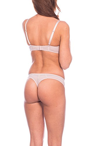 Kendindza Damen Push-Up Dessous Set Bügel-BH & Slip Beige