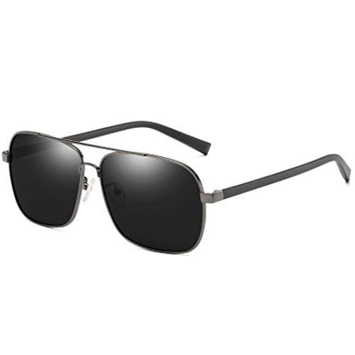 YWYU Polarisierte Sonnenbrille für Mode, 6094 Herren, eckige Brille, TR-Brillenbeine, UV400-Metall-Sonnenbrille mit Blendschutz für Fahrten im Freien (Color : B)
