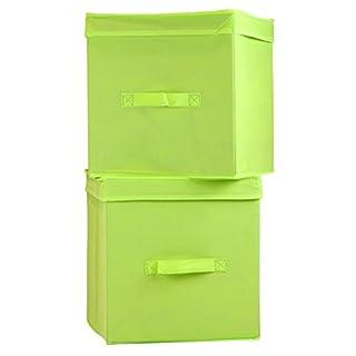 Artra Ordnungsboxen Levi Grün 2er Set Aufbewahrungsbox Stoff Aufbewahrungskorb Faltbar Spielzeugkiste Einschubkorb Regalbox Stoffbox Faltbox Regaleinsatz