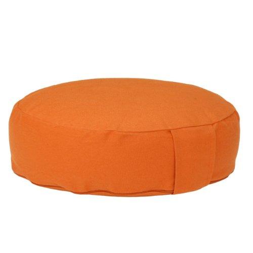 Meditationskissen RONDO BASIC extra-flach mit abnehmbarem Bezug, Dinkel-Füllung , bequemes Sitzkissen, Yogakissen, niedrig, Ø 34cm (orange)