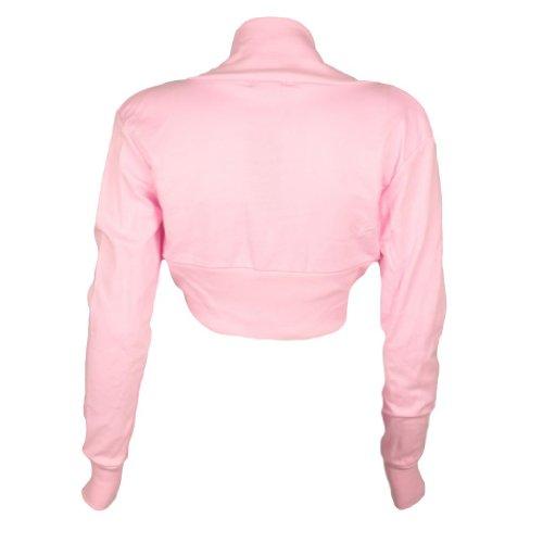 Da donna tinta unita Vintage a maniche lunghe Bolero coprispalle Cardigan Top 8-14 Pink