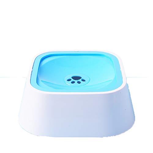Hundetrinker Nicht nasser Mund Einzelne Schüssel Trinkbecken Splash Cat Bowl Dust Rutschfeste Pet Water Bowl Isolierte Luft (Farbe : Blue square) -
