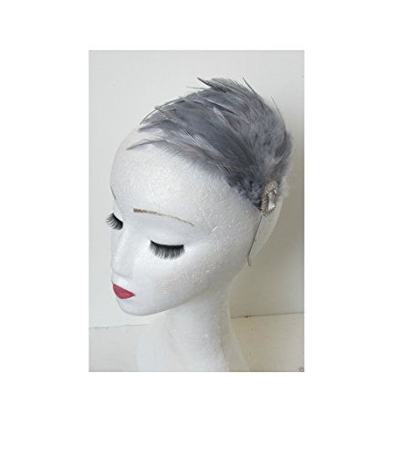 Starcrossed Beauty Serre-tête large plumes gris argent Style années 20 P56