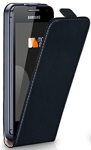 moex® Flip Case mit Magnetverschluss [Rundum-Schutz] passend für Samsung Galaxy Core 2 | 360° Handycover aus feinem Premium Kunst-Leder, Schwarz (Etui Samsung Galaxy Core 2)