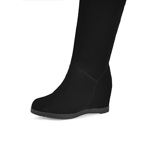 VogueZone009 Damen Hoch-Spitze Ziehen Auf Hoher Absatz Rund Zehe Stiefel mit Anhänger Schwarz
