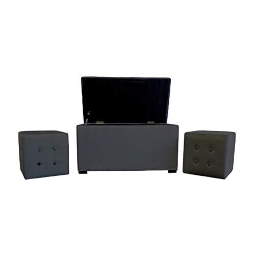 COTTON WOOD Banc Coffre + 2 poufs Velours Chester - 85 x 44 cm et 35 x 35 cm - Gris Anthracite