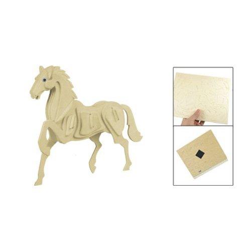 Preisvergleich Produktbild Dcolor Kinderversammlung 3D-Holz-Pferd paedagogisches Spielzeug Holzhandwerk Baukasten