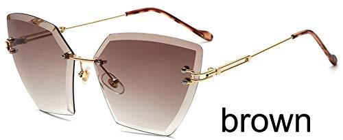 LKVNHP Grau Cat Eye Sonnenbrillen für Frauen randlose Diamant-Schneidlinse Fashion Shades Crystal SonnenbrilleWTYJ019 braun