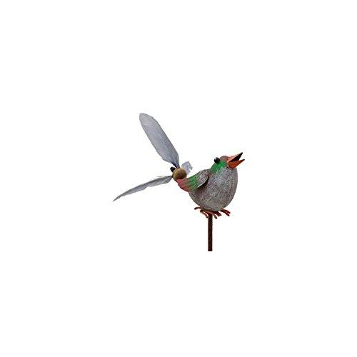 L'Héritier Du Temps Mobile Eolienne de Forme Oiseau Tuteur de Jardin ou Plante en Fer Patiné Coloré 10x16x66cm - Vert-Orange