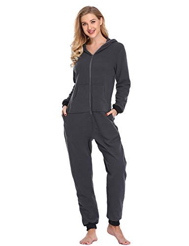 Lusofie Damen Jumpsuit Einteilige Strampler Body Anzug Onesie Pyjamas Overall mit Kapuze (Grau, S)