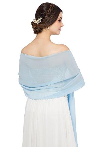 JAEDEN Stola Chiffon Schal für Brautkleid Abendkleider Ballkleider Hochzeitskleider in verschiedenen Farben 45cmx220cm Sky Blue - Sky Blue Chiffon
