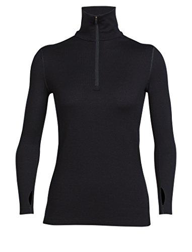 Merino Midweight Zip Top (Icebreaker Damen Wmns Tech Top LS Half Zip Funktionsshirt, Black, XL)