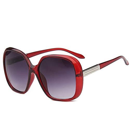 DAIYSNAFDN Rote große Rahmen-Sonnenbrille-Frauen-Verlaufslinse-Reise-Sonnenbrille Uv400 Gafas Red Wine