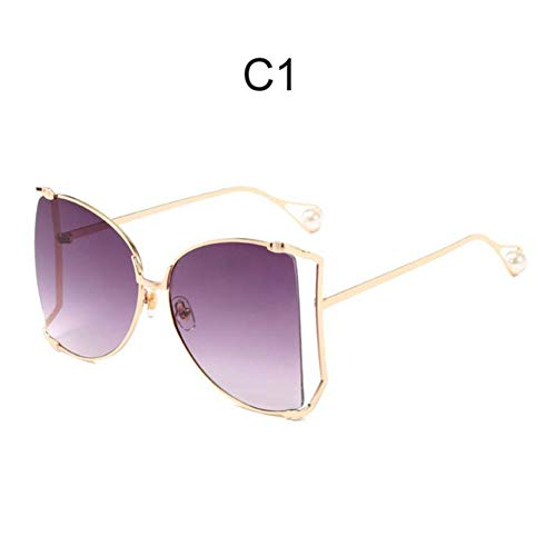 Li Kun Peng Mode Übergroße Sonnenbrille Frauen 2019 Markendesigner Big Square Sonnenbrille Perle Dekoration Cat Eye Shades Schmetterling Brillen,C1Grey