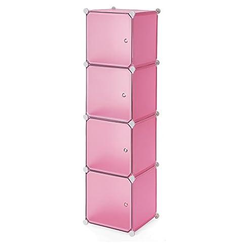 Songmics Armoire Penderie cubes etagère modulables plastiques cadre en métal