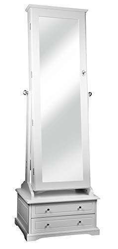 Intirilife Espejo Armario Joyero 150x50x38 cm in Blanco – Organizador de Joyas con Cerradura, Espejo de Cuerpo Entero para Guarda Bisutería y Ganar Espacio – Joyerías Estuche de Pie
