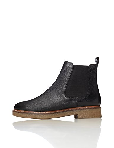 FIND Women's Gum Sole Heavy Rand Chelsea Boots, Black, 4 UK