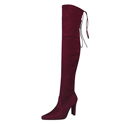 Damen und Mädchen Stiefel Herbst Fashion Party Karneval Sonnena ❤️ Hohe elastische Stiefel in Damen Optik Stiefel auf dem Knie High Heels 38 Weinrot