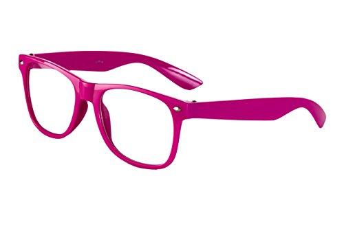 Sonnenbrille Nerdbrille Nerd Retro Look Brille Pilotenbrille Vintage Look - ca. 80 verschiedene Modelle Pink Klar Glas