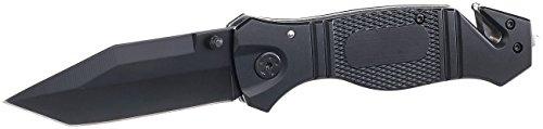 Semptec Urban Survival Technology Taschenmesser: Scharfes Edelstahl-Klappmesser, Alu-Griff, Gurtschneider & Glasbrecher (Rettungsmesser)