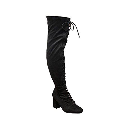 Saute Styles , Bottes cuissardes femme Black Lace Up 1