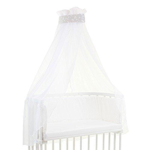 Preisvergleich Produktbild babybay Himmel Pique mit Band für alle Modelle, perlgrau Sterne weiß