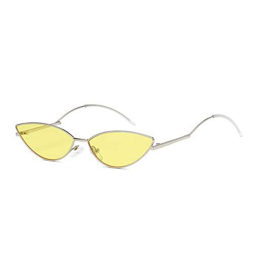 CjYTYJ Cat Eye Sonnenbrille Damen Rot Gelb Klare Linse Sonnenbrille Pink Eyewear Mirror Shades