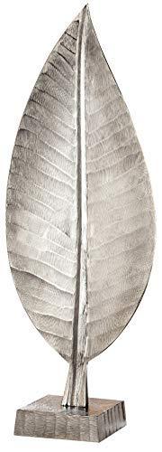 GILDE Elegance Skulptur Blatt - aus Aluminium in Silber H 69 cm B 26 cm -