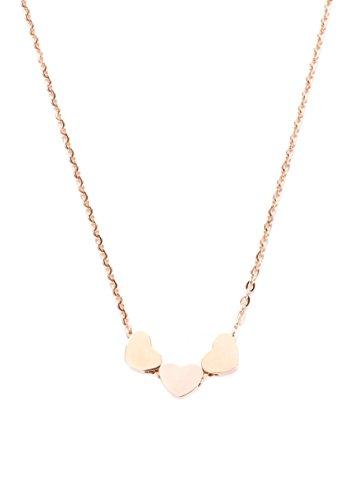 Happiness Boutique Damen Minimalist Kette 3 Herzen in Rosegold | Kette mit Herzanhänger aus Titan mit Rosegold Plattiert (Beste Kostüme Freundin 3)