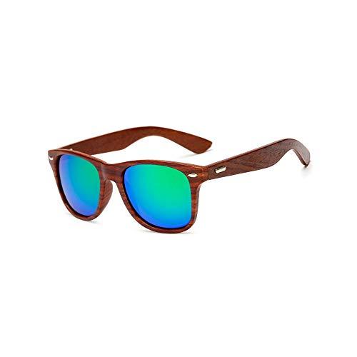 Zbertx Handmade Holz Sonnenbrille Männer Frauen Square Sonnenbrille Für Männer Frauen Spiegel Holz Sonnenbrille Retro, C5