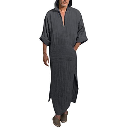 Herren Ethnisch Kaftan Robe,CICIYONER Herren Ethnisch Roben Lose Solide Lange Ärmel Lose Mit Kapuze Jahrgang Kleid