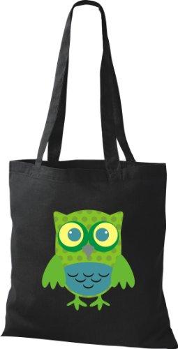Stoffbeutel Bunte Eule niedliche Tragetasche mit Punkte Owl Retro diverse Farbe Schwarz