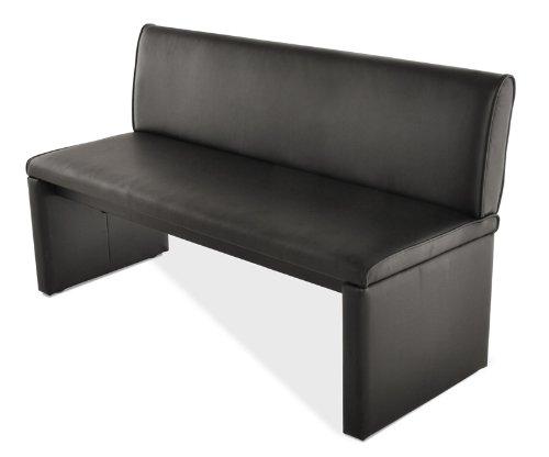 SAM® Esszimmer Einzelbank Sitzbank 180 cm in schwarz, komplett bezogen, angenehme Polsterung, Sitzfläche für 3 Personen, mit durchgehender Rückenlehne [521363]
