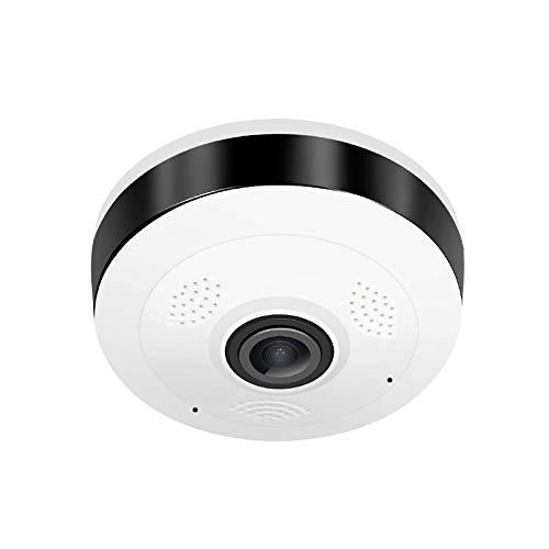 SQUAREDO Cámara de red doméstica de seguridad IP 960P WiFi para vigilancia en EL hogar, Fisheye 360   ° para interiores Con visión nocturna Detección de movimiento Conversación bidireccional (1 PC) - Camara Ip Vigilancia