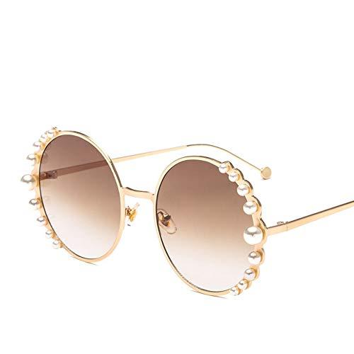 sijiaqi Große Perlen Frauen Runde Sonnenbrille Mode Weibliche Sonnenbrille Goldene Metallrahmen Marke Stil Legierung Strand Eyewear,Brown