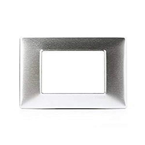 Vimar 14653.81 Placca 3 M alluminio spazzolato, Grigio