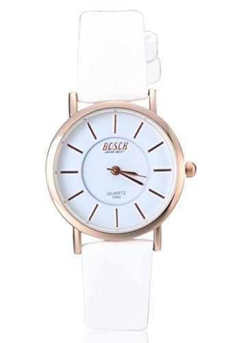 Unendlich U Klassisch Simpel Damen Armbanduhr Weiß Zifferblatt PU Leder Armband Wasserdicht Analog Quarz Uhr