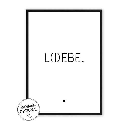 L(I) EBE - Kunstdruck auf wunderbarem Hahnemühle Papier DIN A4 -ohne Rahmen- schwarz-weißes Bild Poster zur Deko im Büro/Wohnung/als Geschenk Mitbringsel zum Geburtstag etc. - Lebe Liebe -