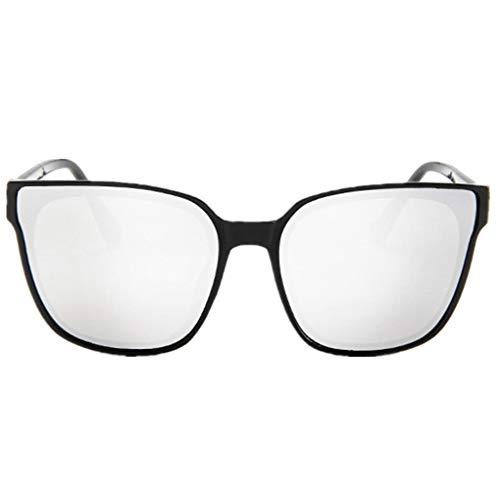 Oversized Sonnenbrille Polarisiert für Damen/Dorical Mode Über-Groß Designer Sonnenbrillen mit UV-400 Schutz Brille/Frauen Metall Rand Brillen Gespiegelte Linse Retro Sunglasses(Weiß)
