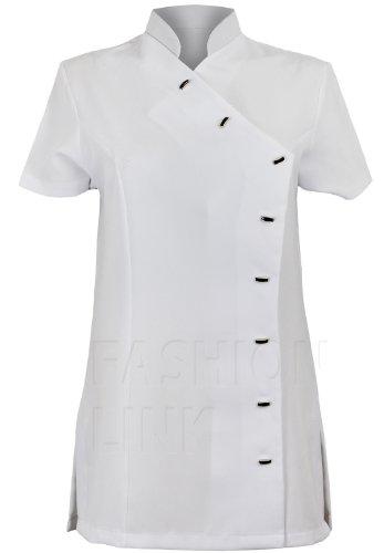 Asymmetric-Cartamodello per tuniche da donna con chiusura a bottone, uniforme, Beautician bianco 46