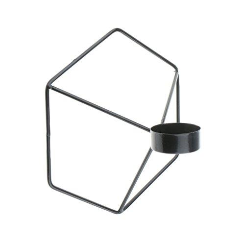 Homyl Geometrischer Teelicht-Kerzenhalter 3D Metalldraht-Rahmen-Wand-Kerzenständer - Schwarz